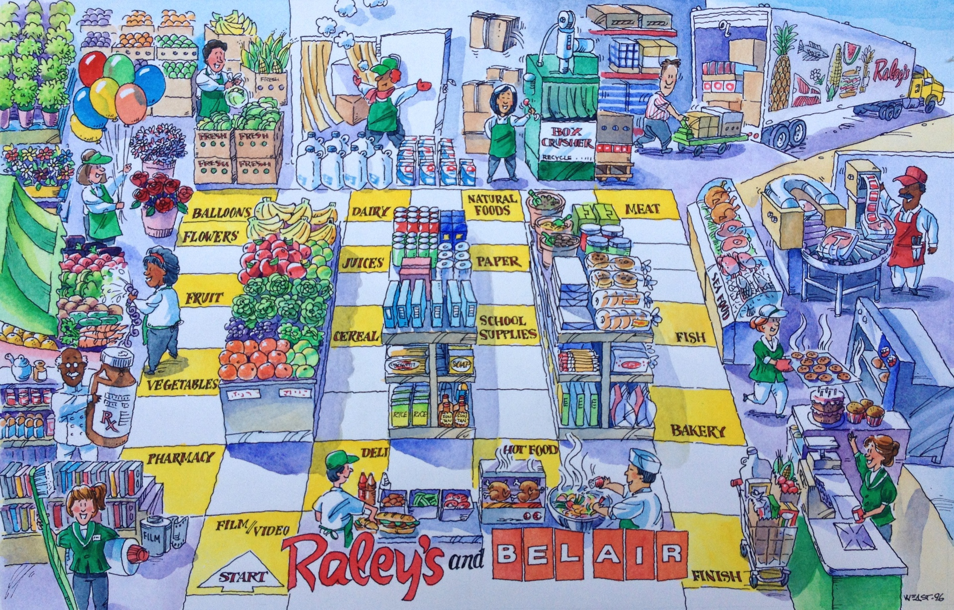 grocery shopping game board